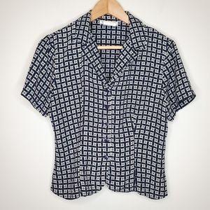 Vintage 90s Navy Short Sleeve Button Collar Blouse
